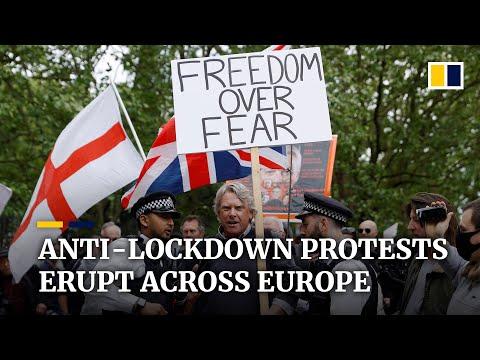 Coronavirus: anti-lockdown protests erupt across Europe in UK, Germany and Spain