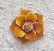 Vintage orange enamel brooch