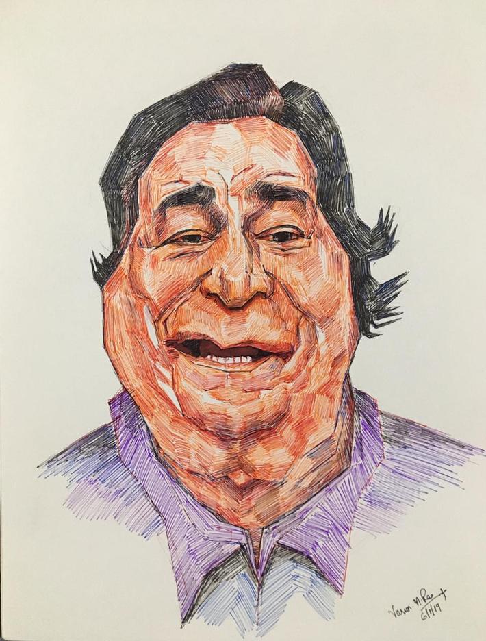 Color Pen Caricature - Kader Khan