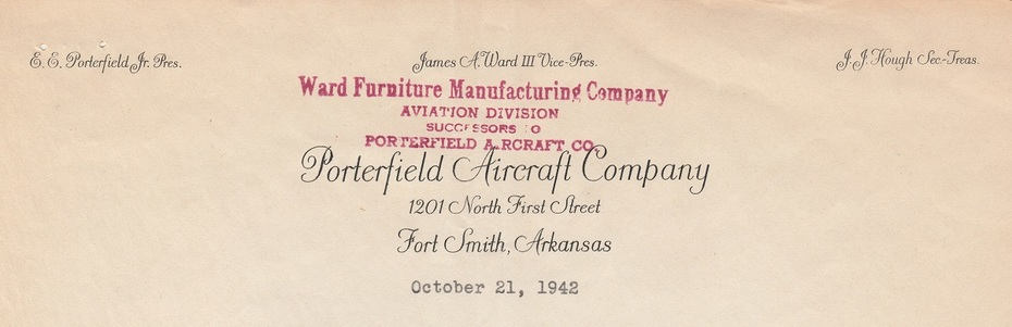Ward-Furniture-Manufacturing-Co-Aviation-Division-Letter-Porterfield-letterhead