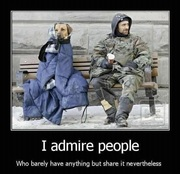 admire people who have nothing but share it