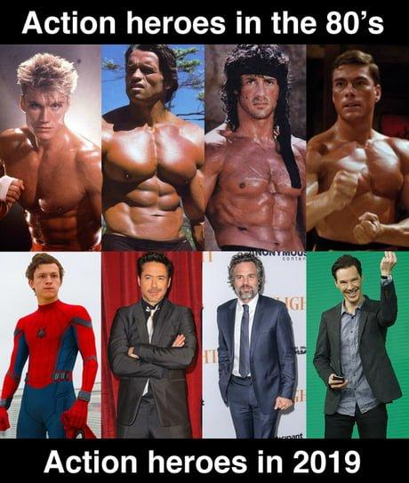 Action Heros of the 1980's vs Geeks and Whimps of 2019