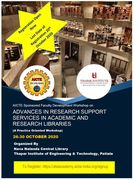 "AICTE – ATAL Workshop on ""Advances in Research Support Services in Academic Libraries"""