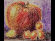 still life in crayon