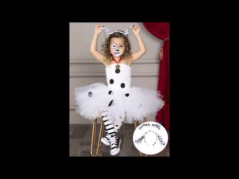 Girls White Polka Dot 101 Dalmatians Inspired Dalmation Halloween Tutu Dress with Headband Costume