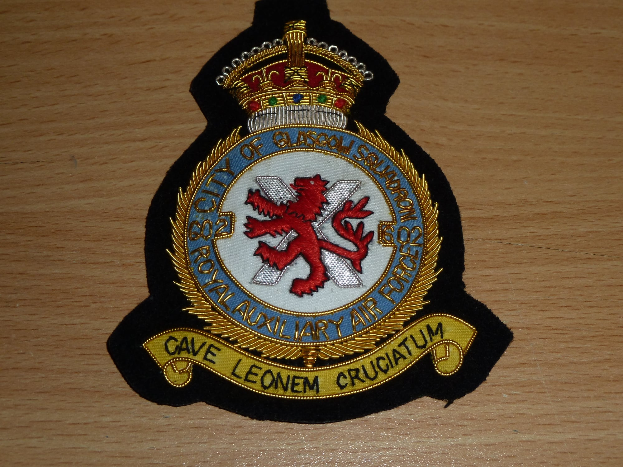 "RAAF Squ 602 ""City of Glasgow"" blazer badge"