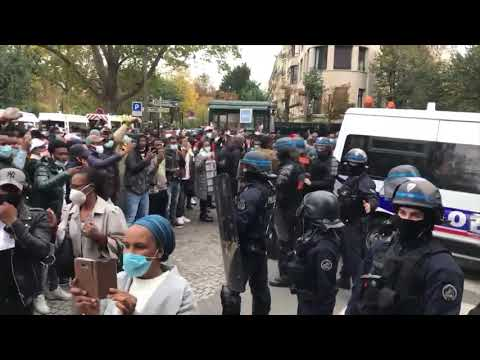 France: Demonstrators protest presidential election in Guinea outside Guinean embassy in Paris