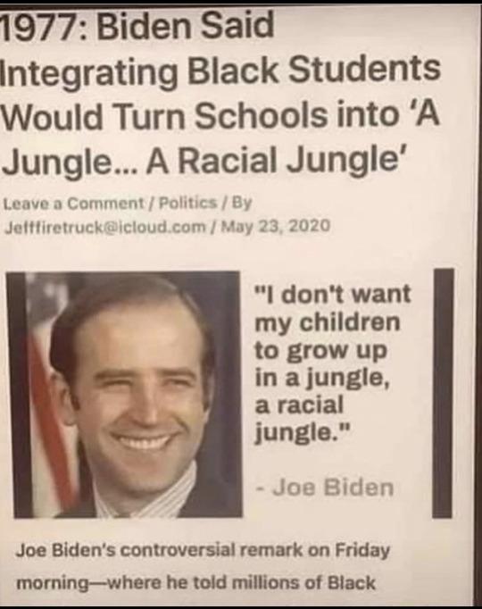 Joe Biden's 1977 Comment on Black Student's in School Integration
