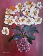 Cream & Orange Orchids
