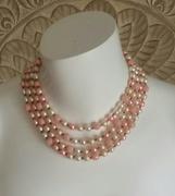 Vintage creamy pink, multi-strand necklace