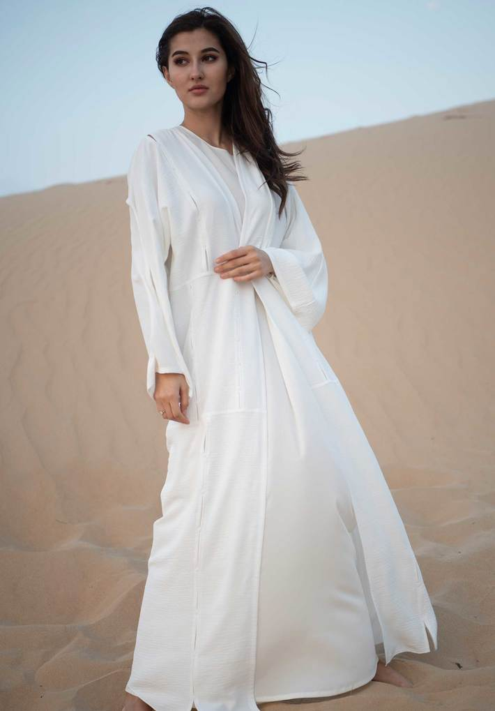 White Abaya with Slits and Handwork | Try Latest Abaya Style