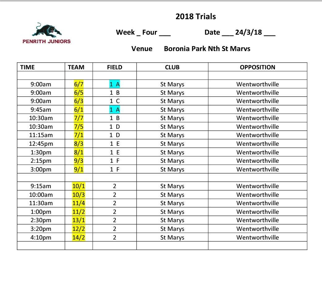 Times for weekends trials
