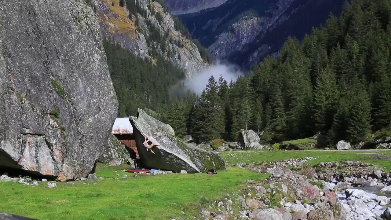 BD athlete Paul Robinson bouldering 8B+ in Austria's Zillertal