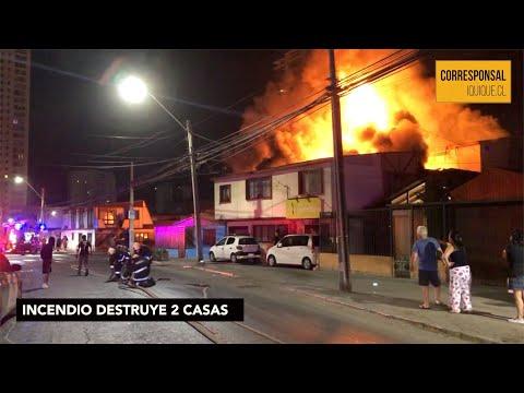 INCENDIO DESTRUYE 2 CASAS EN IQUIQUE - CHILE
