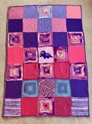 Dawn Bowker's dinosaur and Jayne Clifford's variegated squares.