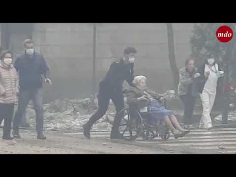 Imágenes tras la explosión en la calle Toledo de Madrid
