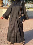 All-Black Set Featuring Textured Abaya with Subtle Embroidery