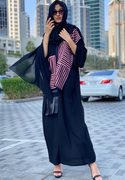 Black Abaya with Pink Embroidered Panels | Buy Abaya for Women