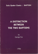 A Distinction Between the Two Baptism