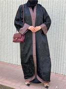 Black Textured Abaya with Contrast Trimmings | Try Modern Abayas
