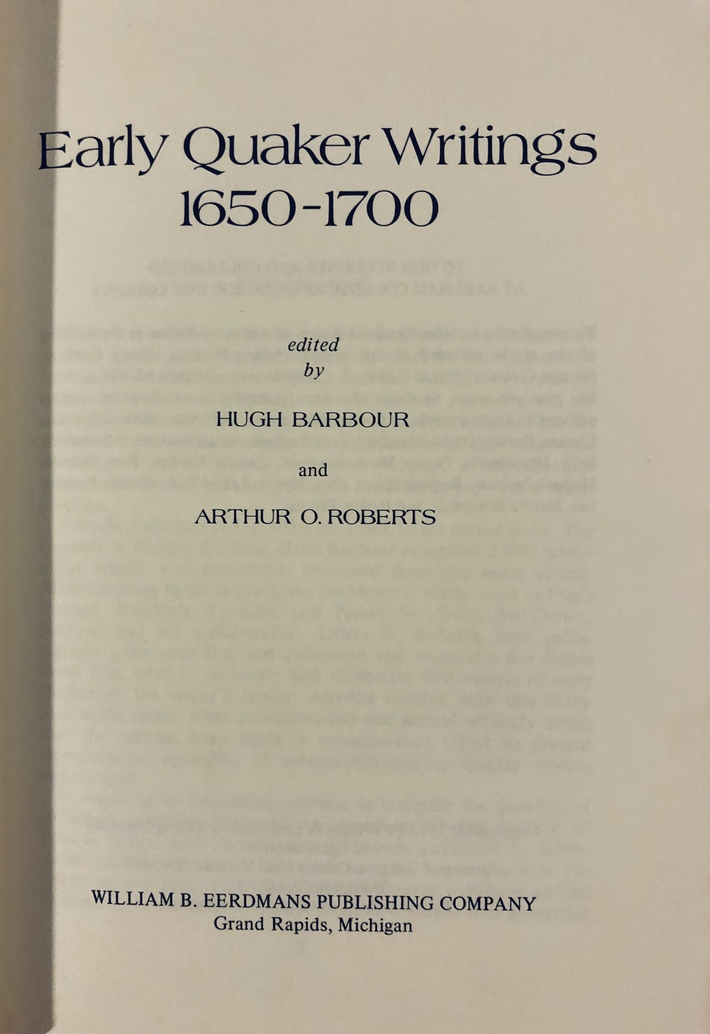 Early Quaker Writings - Barbour and Roberts
