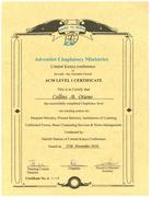 ADVENTIST CHAPLAINCY MINISTRIES CERTIFICATE