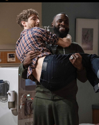 Terrence Terrell lifting Thomas Middleditch