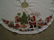 Counted cross stitch Christmas tree skirt
