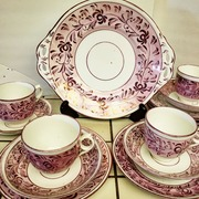 Antique Pink Lustre Staffordshire Cups and Saucers.