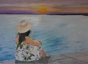 Sonnenuntergang mit Blumenkleid