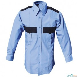 black and blue collared shirt for security guard