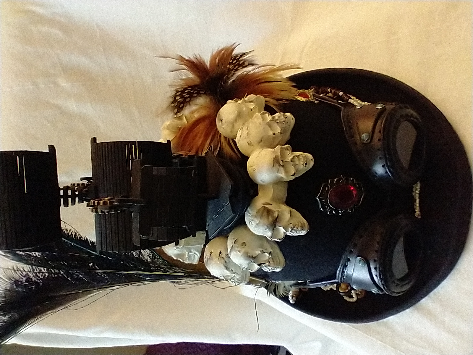 Black Pearl Steampunk Hat and Leather Goggles