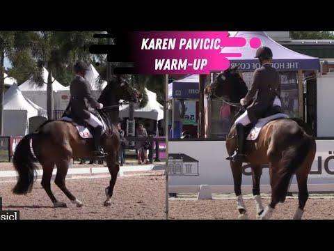 Uncut Grand Prix Dressage Warmup Footage Of  Karen Pavicic