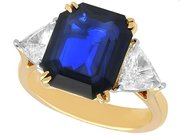 4.91ct Sapphire and 1.16ct Diamond, 18ct Yellow and White Gold Trilogy Ring - Vintage Circa 1975