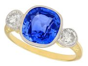 5.50ct Ceylon Sapphire and 0.78ct Diamond, 18ct Yellow Gold Dress Ring - Vintage Circa 1980