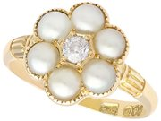 Natural Pearl and 0.20ct Diamond, 18ct Yellow Gold Cluster Ring - Antique Circa 1880