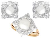 4.08ct Diamond and Pearl, 12ct Yellow Gold Earring and Ring Set - Antique Circa 1870