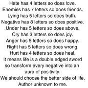 Hate has 4 letters so does love