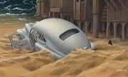 an auto bogged down  in a wave of sand ~ Jacek Yerka
