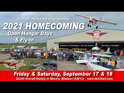 Preview: Zenith Aircraft Homecoming (Open Hangar Days and Fly-In) at the factory in Mexico, Missouri