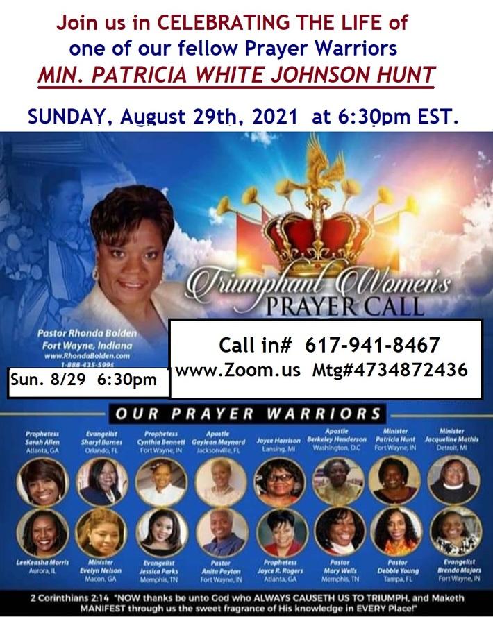PAT CELEBRATION ON THE PRAYER CALL 8-29-21 FLYER