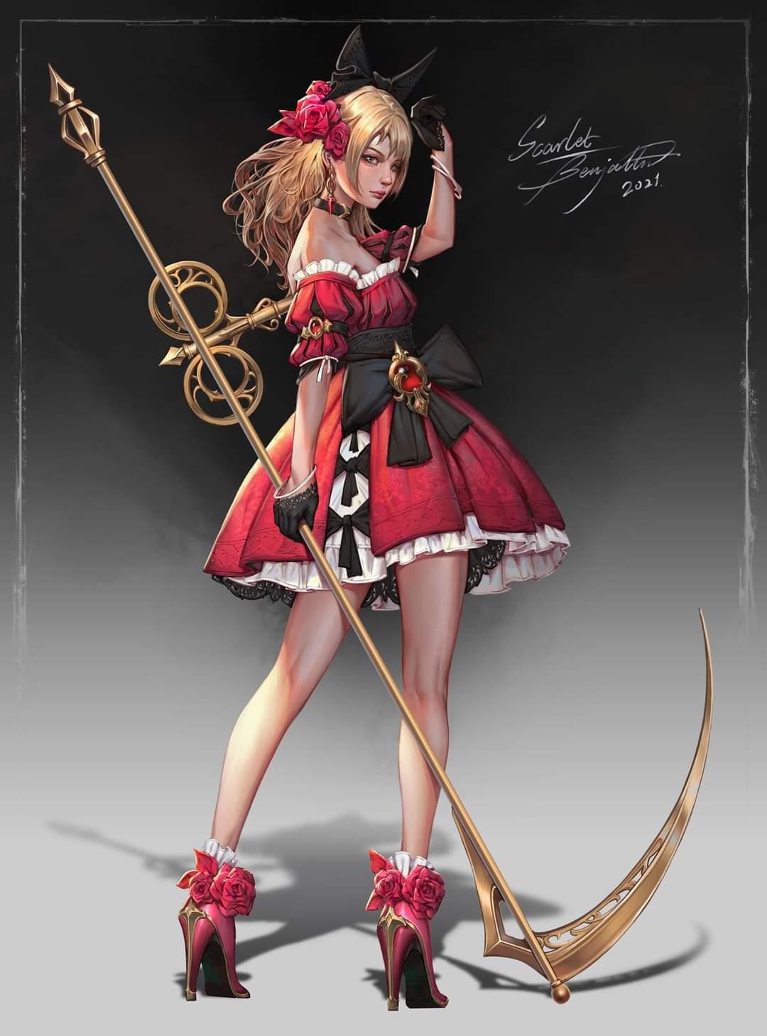 A steampunk clockwork doll girl named Scarlet by Wenmo Zhang