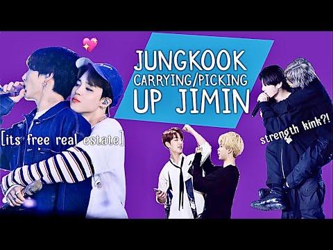 Jungkook Carrying/Picking Up Jimin (AKA Jimin's Strength Kink)
