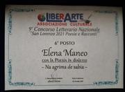 Diploma sesto posto - premio San Lorenzo 2021 - Sesto Fiorentino