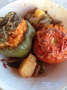stuffed pepper and tomatos traditional greek food