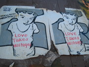 Love Takes Hostages Street art -  Sunset Junction Sunset Blvd. and Sanborn Ave. Silver Lake Los Angeles