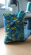 Quilted Zippered Personal Pouch with TulaPink Fabrics - Owls in Aqua