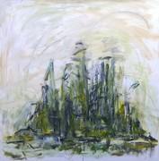 14. SCHILFROHR IN DER POLDER 5, 100 x 100 cm. Acryl auf Canvas