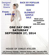 Summer Sample Blowout Sale - Designer Wedding Gowns From $499.00