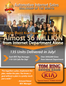 Tom Ring's Brown Daub Kia store increased their call volume and bringing their internet department to almost $6 million sales in one month.